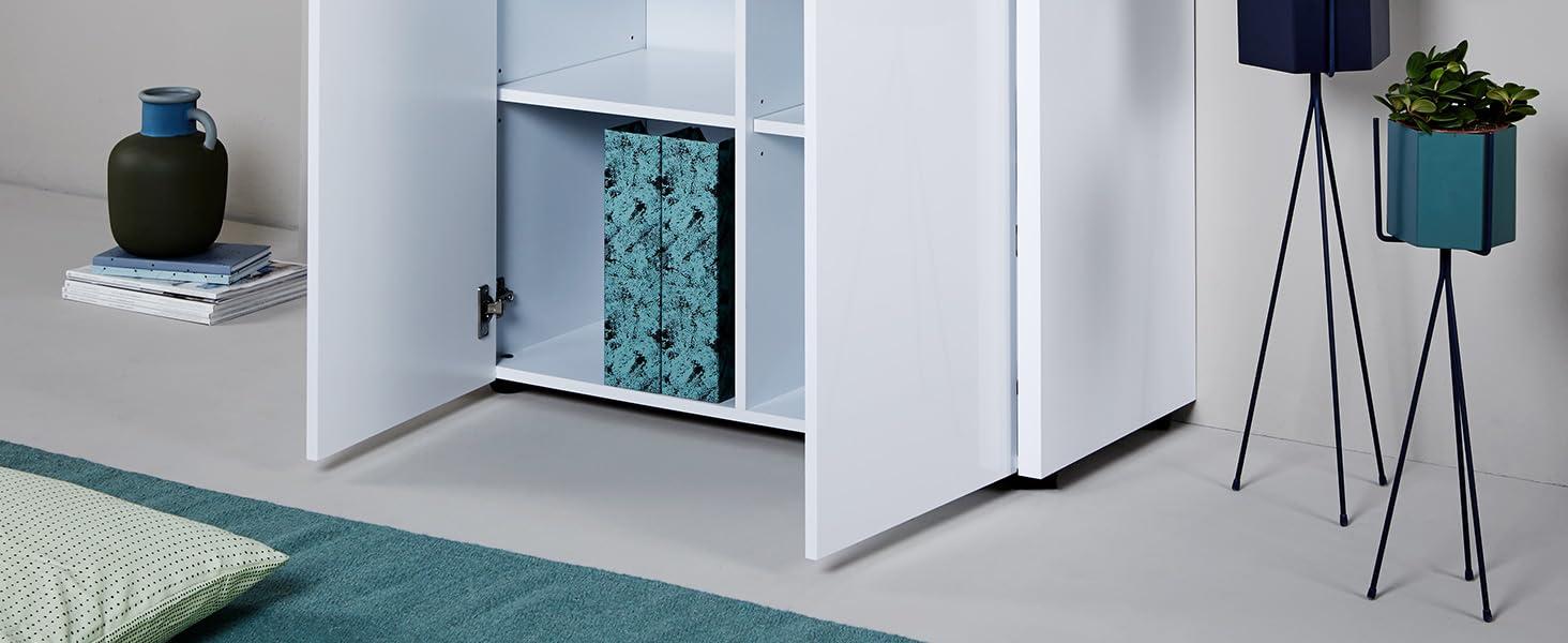 lacado blanco brillante 80 x 28 x 119/cm Marca  -/Movian Mj/øsa Escritorio para asistente personal