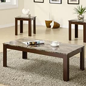 Amazon.com: Coaster Home Furnishings 3 Piece Faux Marble Top Coffee ...