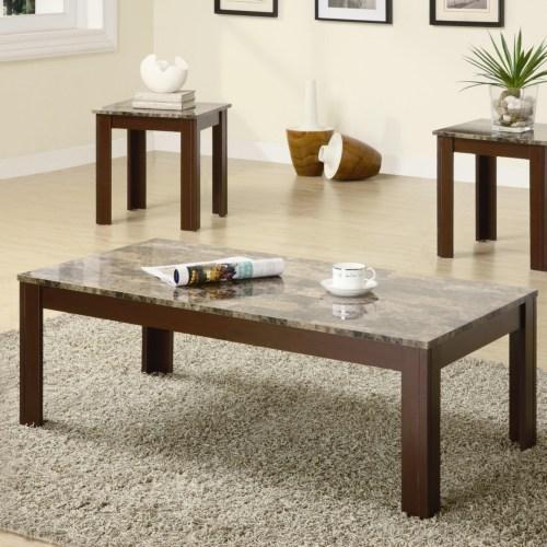 Coaster Furniture 3 Piece Casual Coffee Table Set & Amazon.com: Coaster Home Furnishings 3 Piece Faux Marble Top Coffee ...