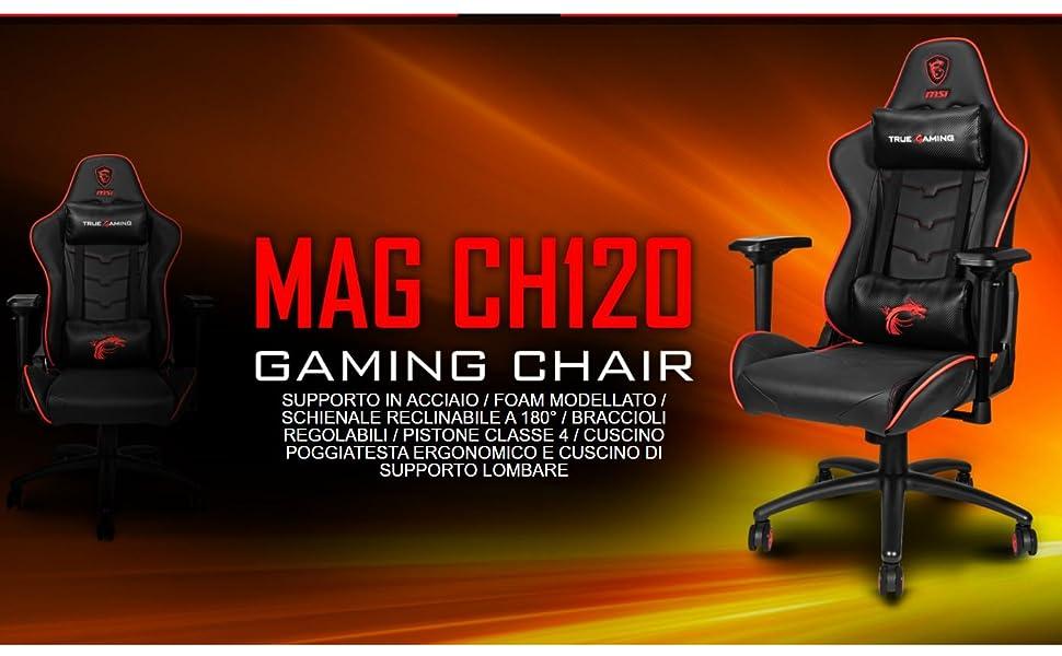 MSI MAG CH120X - Sedia Gaming Ergonomica e regolabile