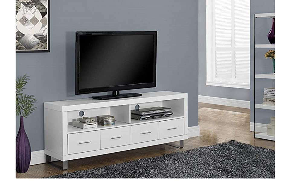 """Monarch Specialties I-2518 60/"""" TV Stand with 4 Drawers in White Finish New"""
