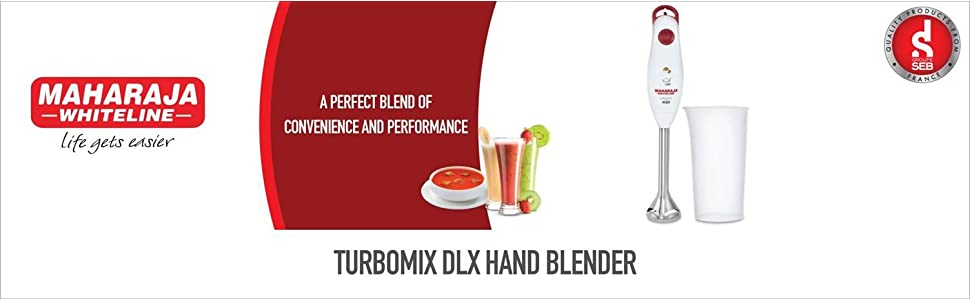 Maharaja Whiteline Turbomix DLX 350-Watt Hand Blender (White and Red)