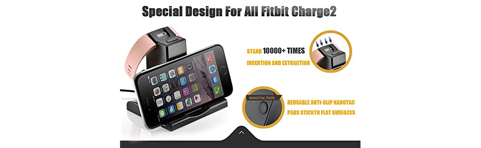 Aresh for Fitbit Charge 2 Charger, with 3.3feet USB Cable Charger Charging Dock Station for Fitbit Charge 2 Fitness Tracker Watch, Stand for Mobile ...