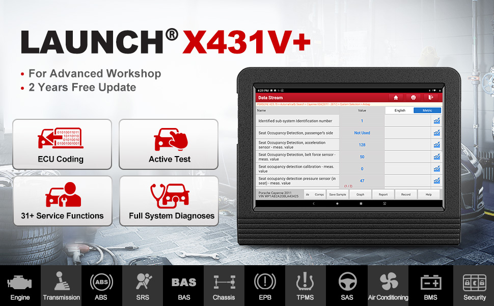 Launch X431 V+ (Upgraded Version of X431 V PRO) Bi-Directional Scanner Full Systems Diagnostic Scan