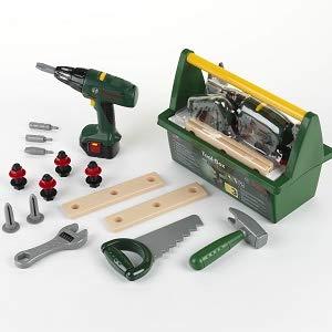 Theo Klein 8429 Caja de herramientas Bosch, Con sierra, martillo, alicates y mucho más, Destornillador eléctrico a pilas, Medidas: 31 cm x 16.5 cm x 22.5 cm, Juguete para niños a partir