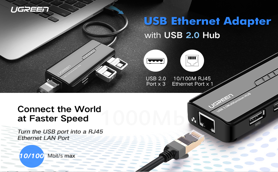 UGREEN RJ45 Ethernet Adapter with USB 2.0 Hub USB Network Adapter 10/100Mbps for Nintendo Switch