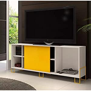 BRV Moveis TV Table With Three Open Shelves And One Cabinet for 50 inch TV, White and Yellow