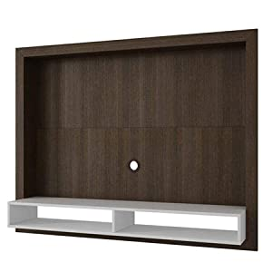 Brv Moveis TV Panel with Two Shelves for 55 in ch TV - White and Brown