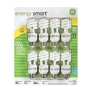 ge 13 watt energy smart fluorescent light bulbs 8 pack 60 watt replacement spiral shaped. Black Bedroom Furniture Sets. Home Design Ideas