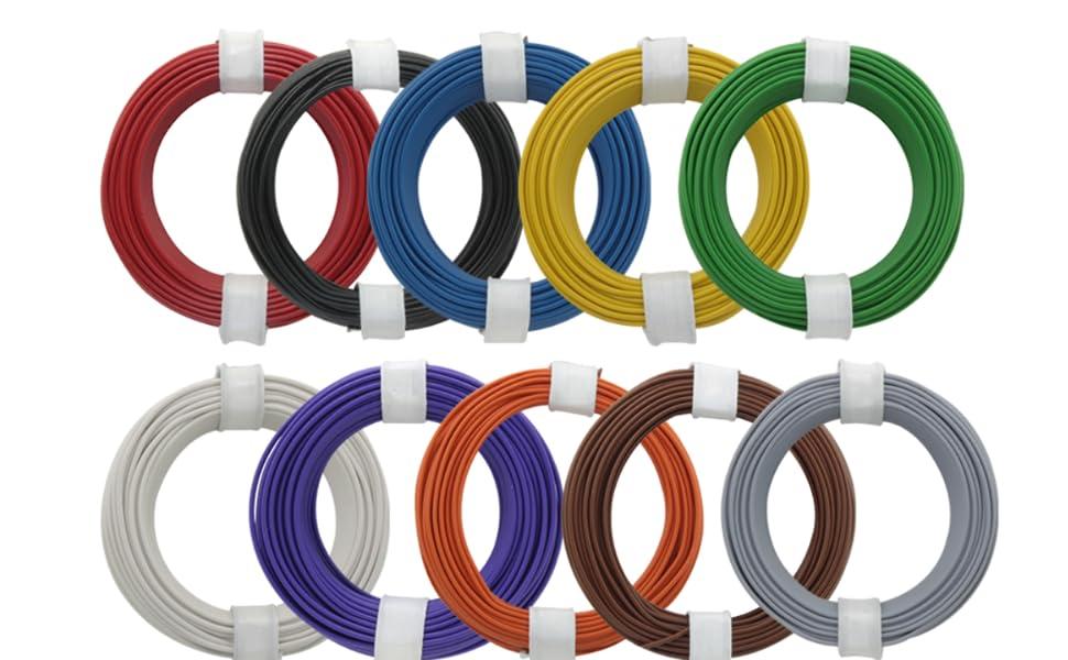 10m Kabel Litze 1x0,14mm² blau flexibel Schaltlitze Kupferlitze 10 Meter Ring