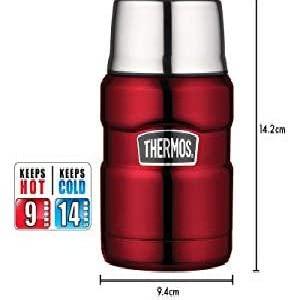 Thermos Food Flask Stainless Steel Vacuum Insulated 470 ml Red Includes Spoon