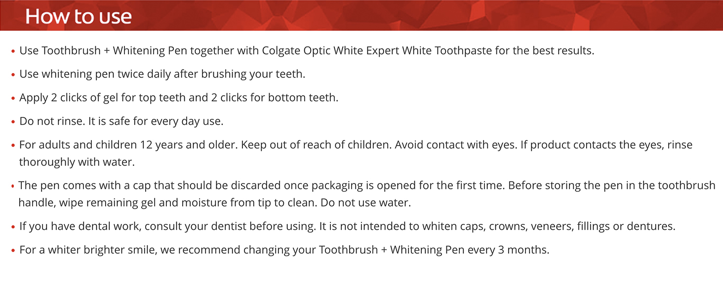 Colgate Optic Whitening Pen and toothbrush