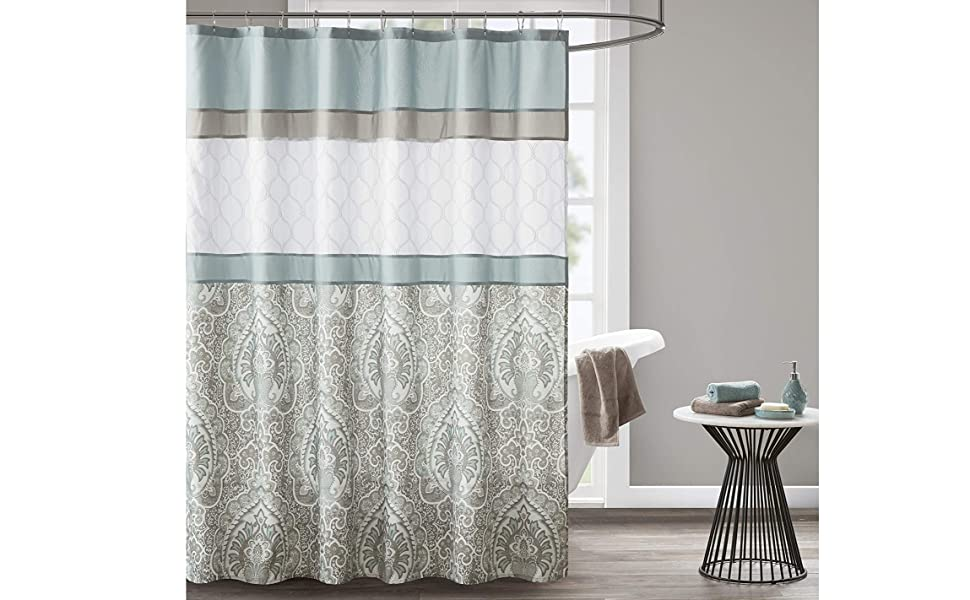 510 Design Shower Curtain Geometric Textured Embroidery Design With Built In Liner Modern Mid Century Bathroom Decor Machine Washable Fabric Privacy Screen 72x72 Shawnee Blue Home Kitchen
