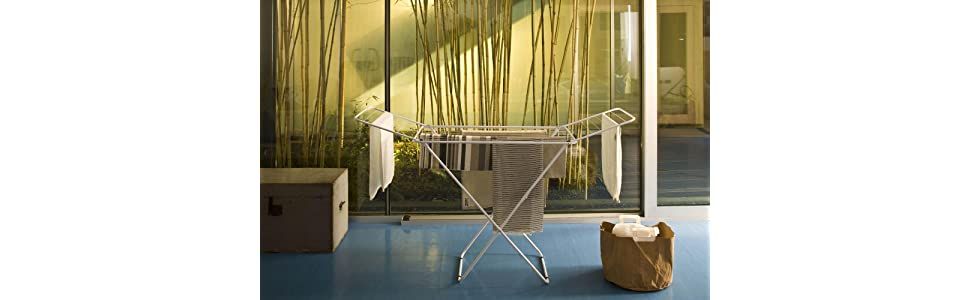 Gimi Jolly Tendedero con Patas X, Metal, Blanco, 55x4x129 cm, interior