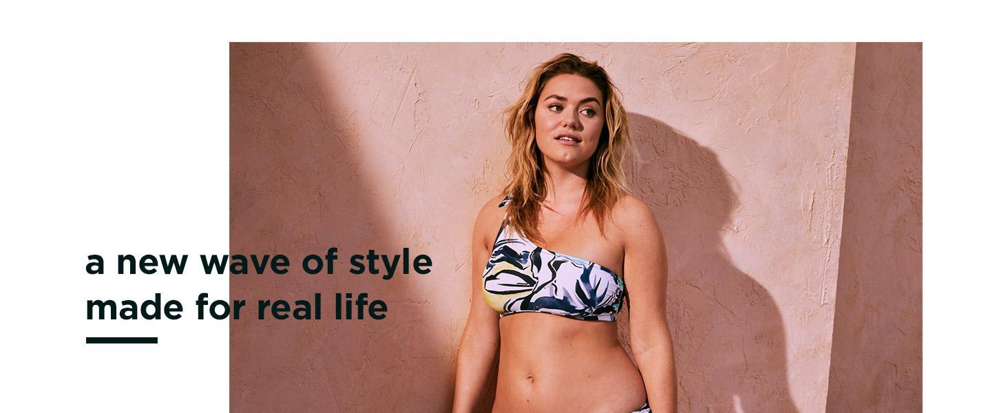 261312b87c4cd Amazon.com  Coastal Blue Women s Swimwear Lattice Back Longline ...