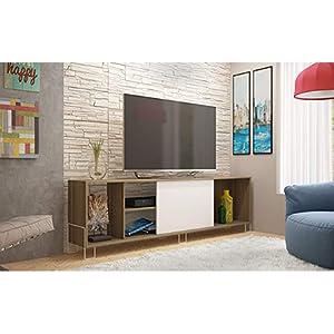 "Manhattan Comfort Nacka 1.0 Series 71"" TV Stand in Oak and White"
