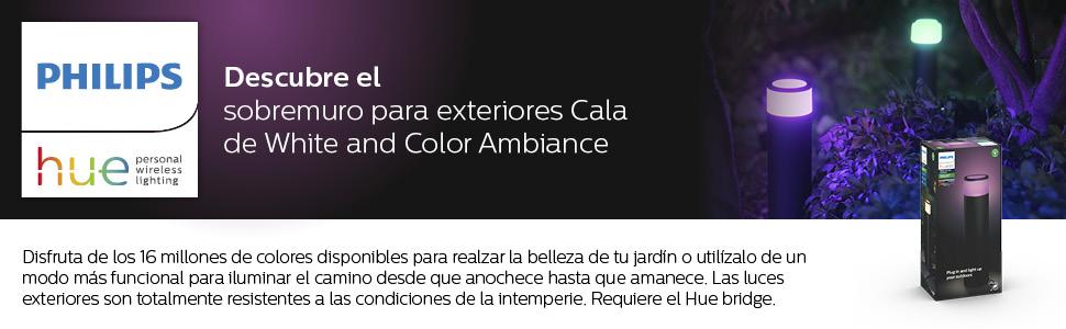 Philips Hue Calla Pedestal o sobremuro LED inteligente (bajo voltaje) negro, luz blanca y de colores, compatible con Amazon Alexa, Apple HomeKit y ...