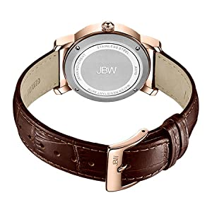 JBW Olympia 0.20 ctw Diamond Women's Rose Gold Dial Genuine Leather Band Watch - J6377D