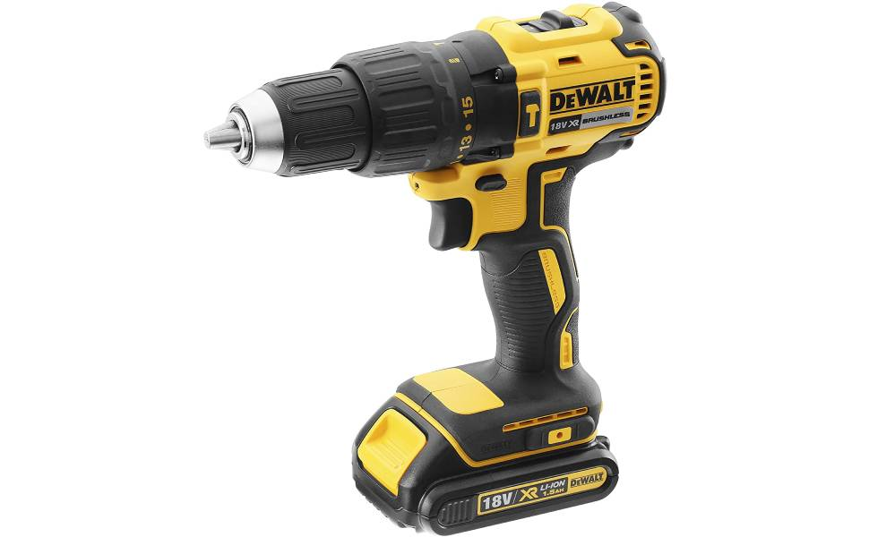 DeWalt 18V 13mm Compact Hammer Driver,Brushless, 2 x 1.5Ah batteries, charger and kit box