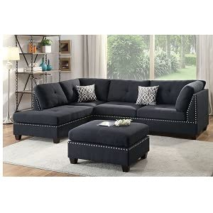 Poundex Bobkona Viola Linen-Like Polyfabric Left or Right Hand Chaise Sectional Set with Ottoman (Pack of 3), Black