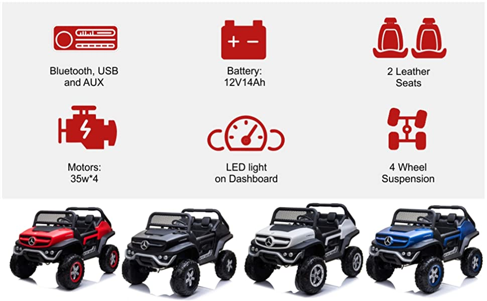 Dorsa Mercedes Benz 4x4 Off-Road Electric ATV Unimog Kids Ride On Car with Remote Control