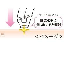 【2】 出力レベルを選び光エステをフラッシュが発光するまで押しあてる