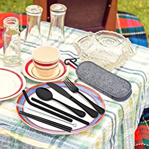 travel cutlery set portable camping cutlery reusable utensils kit stainless steel