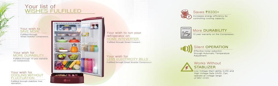 Buy LG 190 L 4 Star Inverter Direct-Cool Single-Door