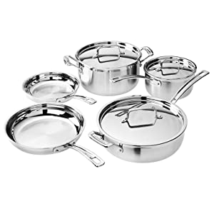 Cuisinart MCP-7N MultiClad Pro Stainless-Steel Cookware 7-Piece Cookware Set - Silver Salted Salad