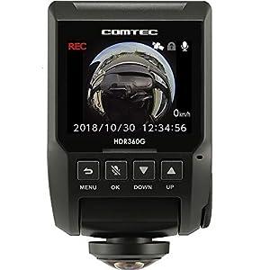 コムテック 360度全方向対応ドライブレコーダー HDR360G 340万画素 ノイズ対応 夜間画像補正 LED信号対応 専用microSD(16GB)付Gセンサー GPS 12/24V対応