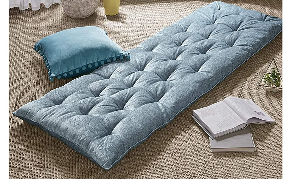 Amazon Com Intelligent Design Edelia Foldable Poly Chenille Lounge Floor Pillow Cushion Tufted Seat For Meditation Game Playing Yoga Reading With Travel Wrap 74x27 Aqua Home Kitchen