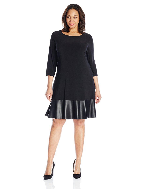 Amazon.com: Tiana B Women\'s Plus Size 3/4 Sleeve Knit Swing Dress ...