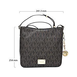 Michael Kors 30T2GTVM3B-200 Jet Set Travel Large Monogram Logo Messenger Bag for Women - Brown