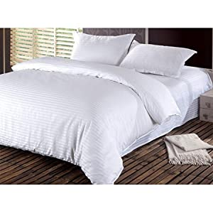 Hotel Stripe 5 Pcs Comforter Set By Valentini, King Size, White, Microfiber