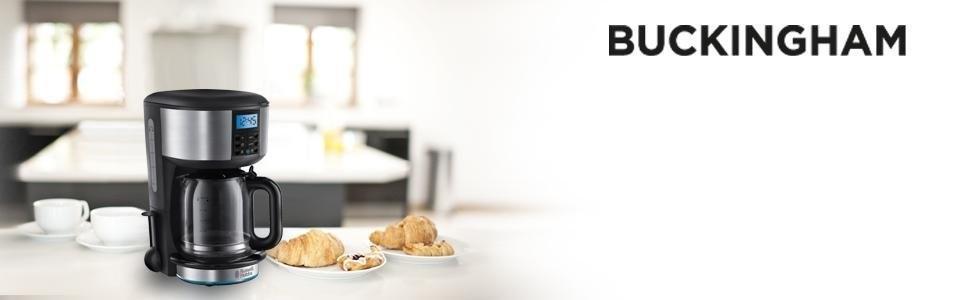 Russell Hobbs Buckingham 20680-56 Macchina Caffè, 1000 Watt, Acciaio Inossidabile, Nero