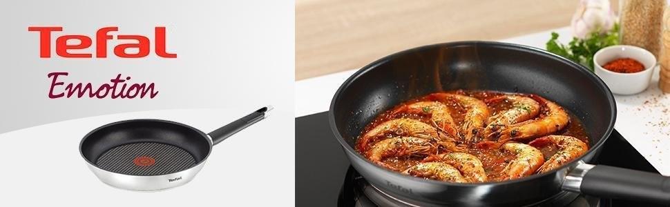Tefal Emotion - Sartén de aluminio de 24 cm, antiadherente Titanium Extra, exterior resistente en acero, aptas para todo tipo de cocinas incluido ...