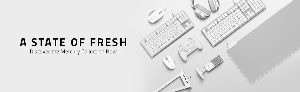 Razer Basilisk Mercury Edition, white gaming mouse, esports pro