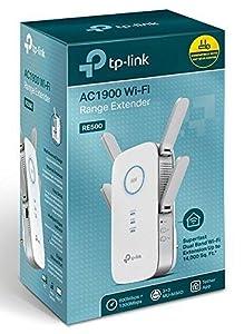 TP-Link RE500 AC1900 - Repetidor de red Wifi extensor amplificador de cobertura(Puerto Ethernet Gigabit, doble banda, 600Mbps, 2.4GHz, 1300Mbps, 5GHz, ...