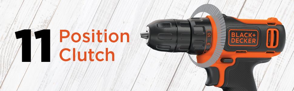Black+Decker Cordless Drill Kit, Black/Orange, Bdcdd12Htsa-B5