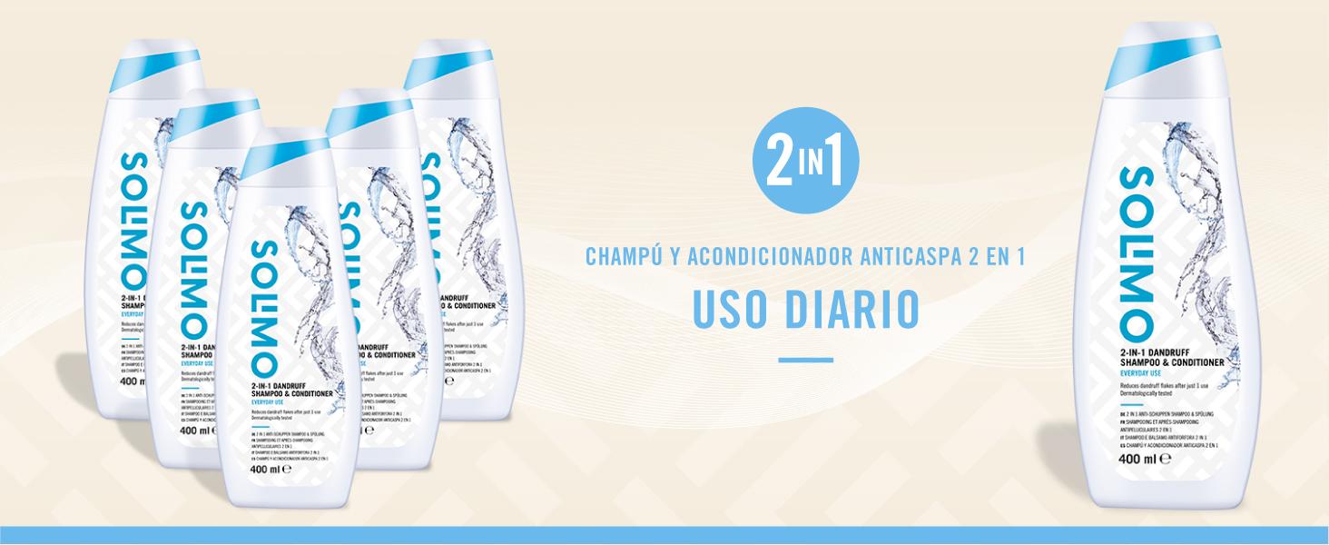 Marca Amazon - Solimo Champú y acondicionador anticaspa 2 en 1 ...