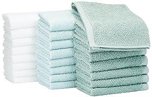 AmazonBasics - Paños de algodón (30,5 x 30,5 cm), pack de 24 - Verde, Azul claro, Blanco: Amazon.es: Hogar