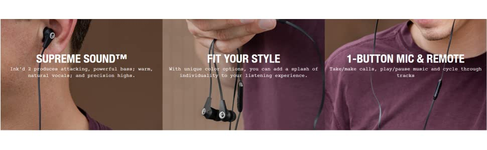 Skullcandy Ink'd 2 0 Wired Earbuds with In-Line Microphone and Remote,  Tangle-Reducing Flat Cable, Noise-Isolating Supreme Sound with Powerful  Bass