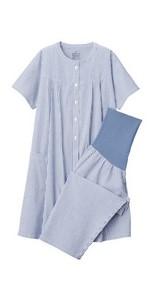 無印良品 脇に縫い目のないサッカー半袖パジャマ・八分丈(授乳仕様)