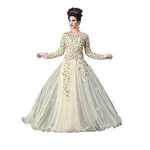 Buy Rudra Fashion Women's Anarkali Midi Gown (White Gown_White_Free Size)  at Amazon.in