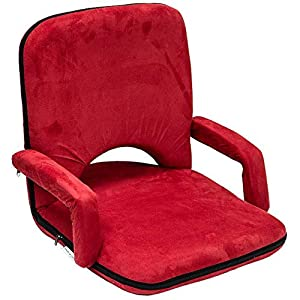 Velvet Camping Chair with Armrest 3 Levels,Red
