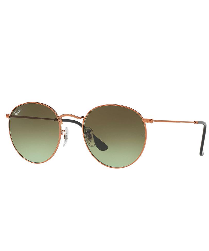 RAY-BAN Round Metal Gafas de Sol, Shiny Medium Bronze, 50 para Hombre