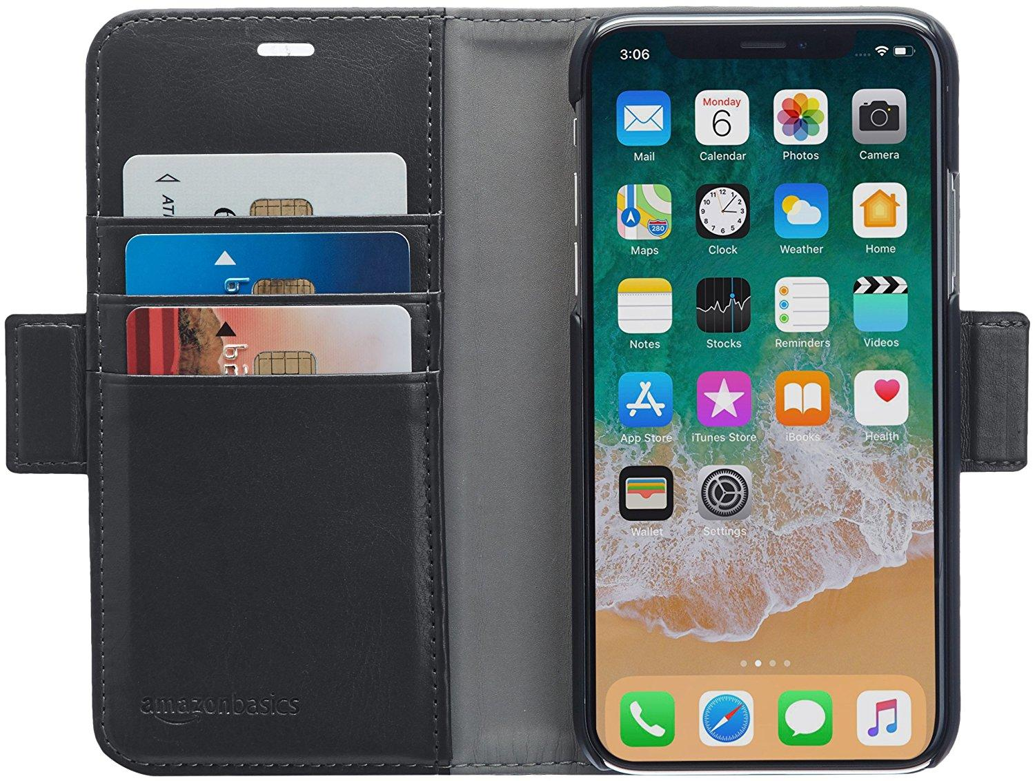 amazonbasics iphone x pu leather wallet. Black Bedroom Furniture Sets. Home Design Ideas