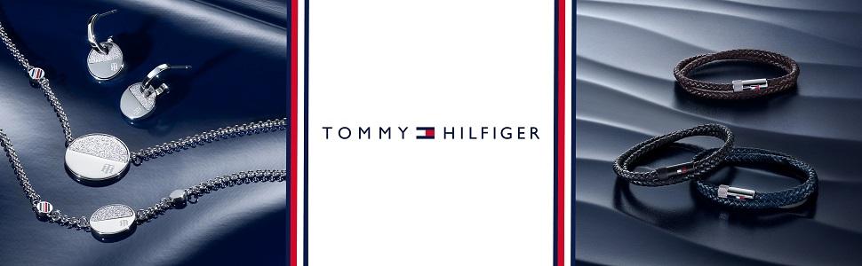 TOMMY HILFIGER MEN'S STAINLESS STEEL & BROWN LEATHER BRACELETS