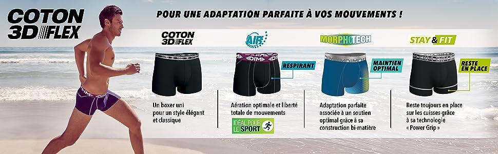 Dim - 3D Flex Stay   Fit - Boxer - Uni - Lot de 2 - Homme  Amazon.fr ... ec8e46a1b550