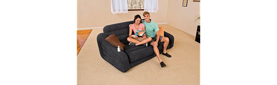 Amazon Com Intex Pull Out Sofa Inflatable Bed 76 X 87 X 26